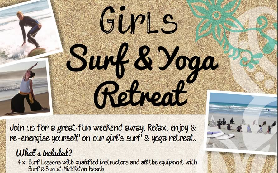 Girls Surf and Yoga Retreat ... What's included:  4 x Surf Lessons with qualified instructors and all the equipment with Surf & Sun at Middleton beach  2 x Nights in shared accommodation at the Port Elliot Beach House YHA  5 x Yoga Sessions in nature with the Joyful Buddhas  6 x Healthy Vegetarian Meals provided by Fleurieu Bites